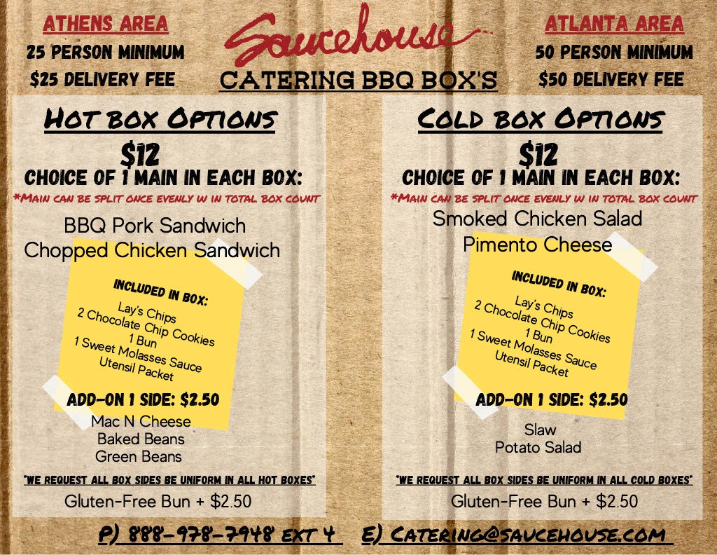 Saucehouse Drop Off Boxed Lunch